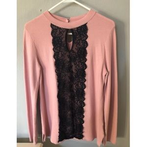 Pink Keyhole Sweater with Black Lace Detail
